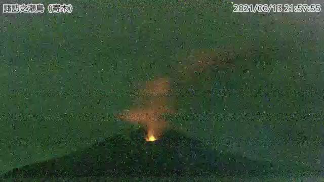Constant night-time glow at Suwanosejima volcano (image: JMA)