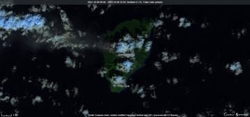 Ash column from Suwanosejima volcano on 8 October visible from space (image: Sentinel 2)