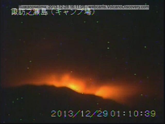 Glow from Suwanose-jima volcano this evening
