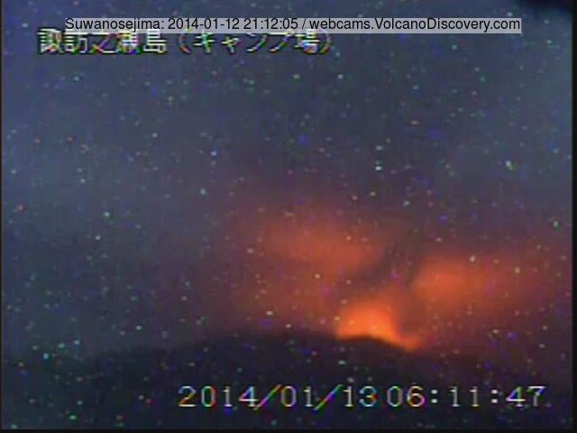 Glow from strombolian activity at Suwanose-jima volcano