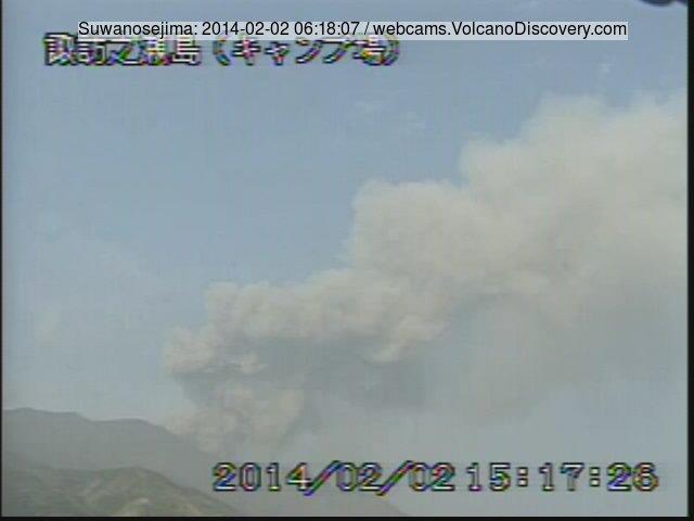 Ash eruption from Suwanose-jima this morning