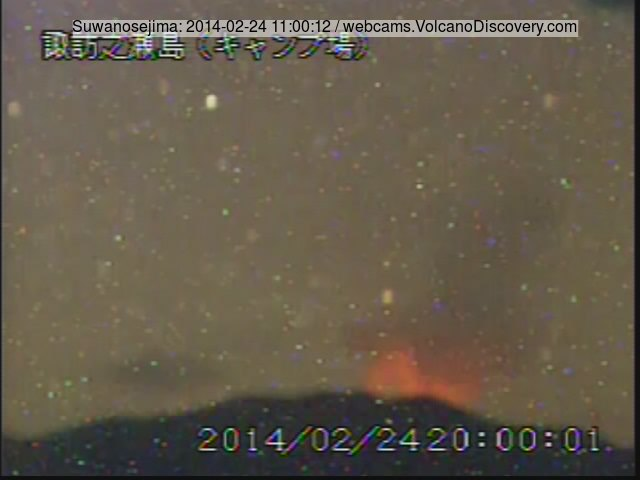 Glow from an eruption at Suwanose-jima volcano (JMA webcam)