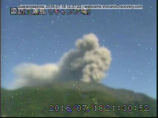 Ash plume from an explosion at Suwanose-jima volcano today (JMA webcam)