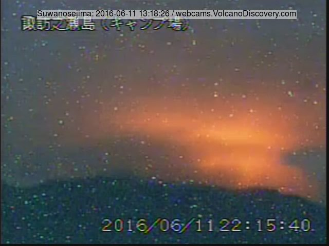 Glow from Suwanose-jima's active crater (JMA webcam)