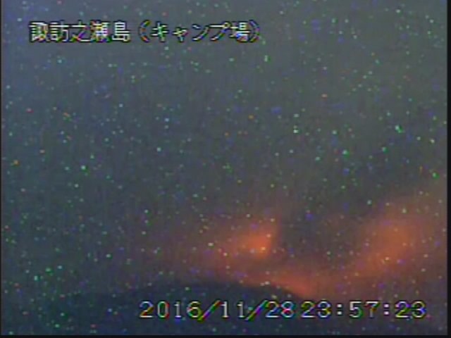 Glow from Suwanosejima's Otake crater this evening (JMA webcam)
