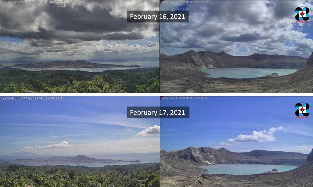 The crater lake of Taal Volcano Island during 16 and 17 Feb 2021 with apparent calm (image: PHIVOLCS)