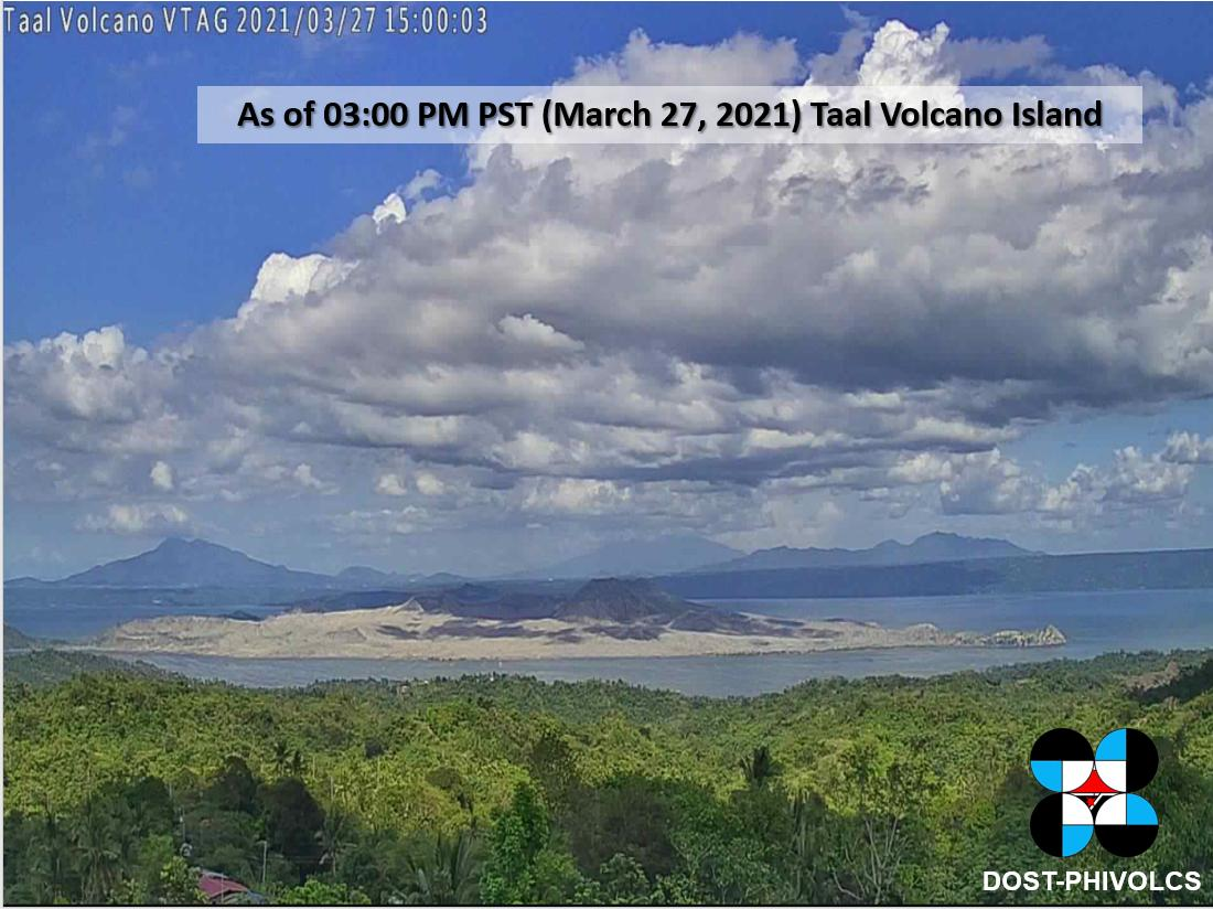 Taal volcano from PHIVOLCS's webcam on 27 March