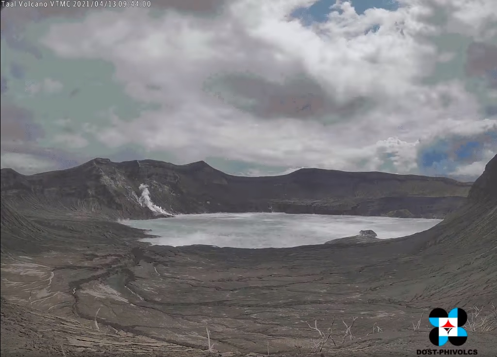 Constant steaming from fumarolic vents at Taal volcano (PHIVOLCS webcam image)