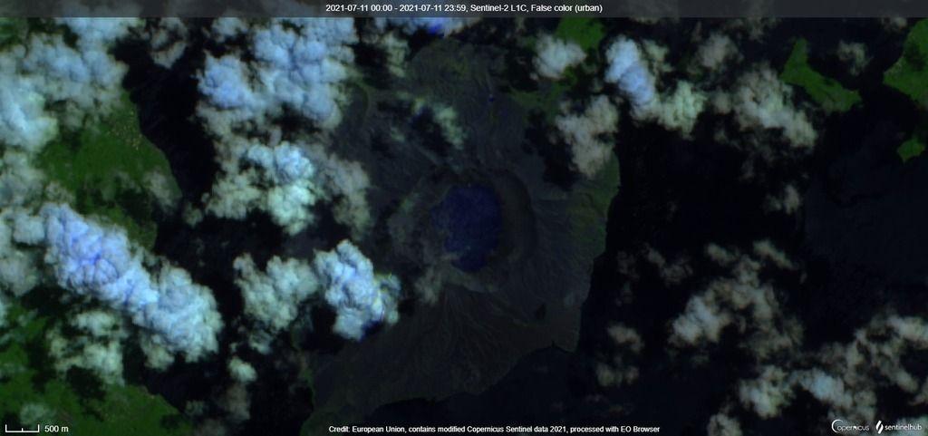 Satellite image of Taal volcano on 11 July (image: Sentinel 2)
