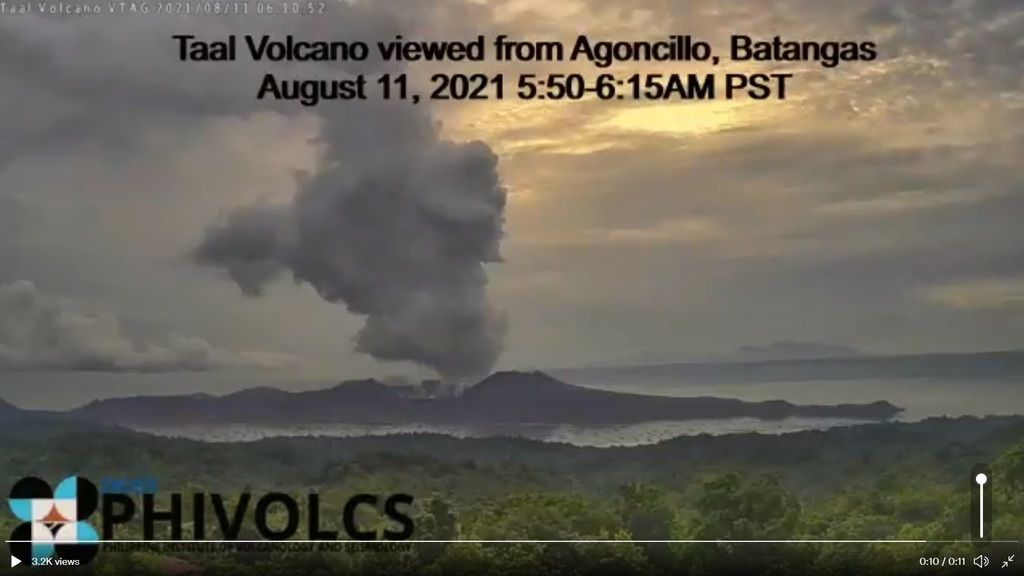 Steam plumes from Taal volcano today (image: PHIVOLCS)