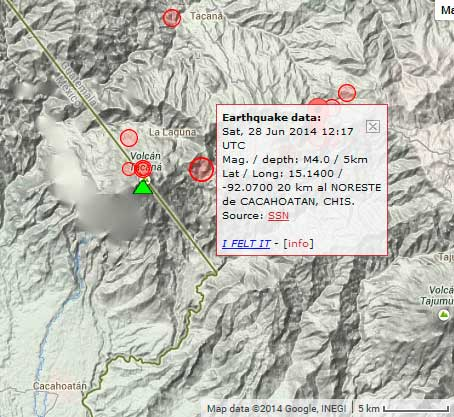 Recent earthquakes near Tacaná volcano