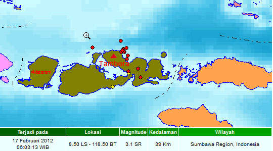 Recent seismic activity near Tambora volcano