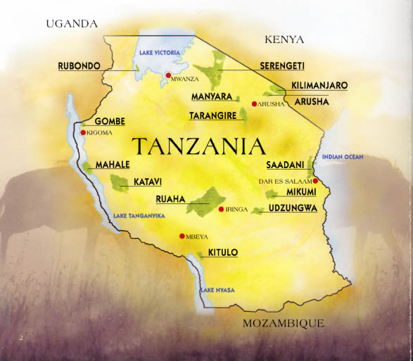Map of Tanzania's National Parks (courtesy of Tanzania National Parks)