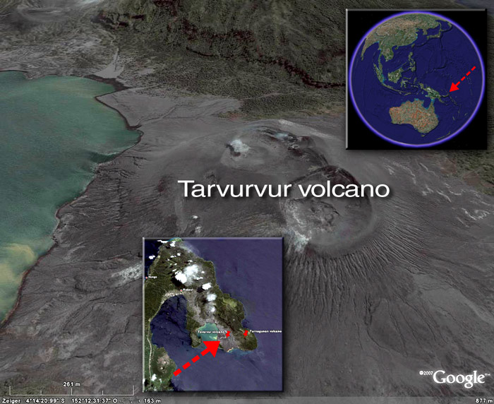 Satellite image of Tarvurvur volcano (c) Google