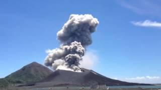 Explosion from Tavurvur on 21 Jan 2013 (photo: user komnairima on youtube)