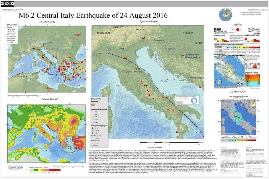 Tectonic summary maps of the M6 Italy earthquake on 24 Aug 2016 (USGS)