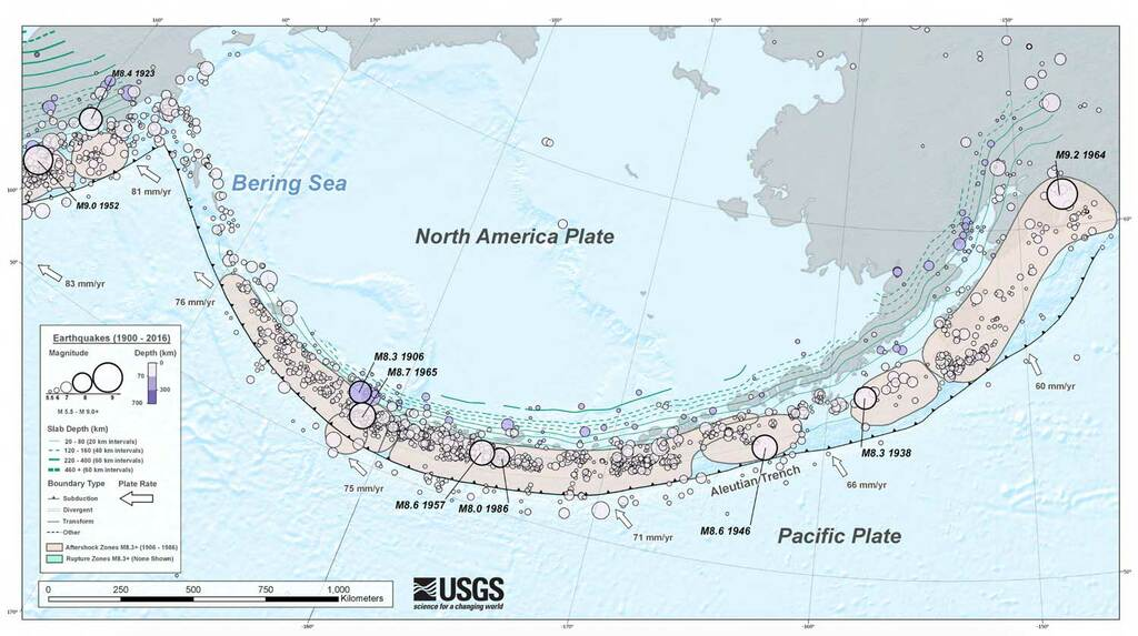 Tectonic situation of the Aleutian Trench and significant past quakes (USGS)