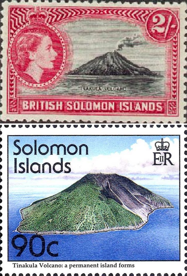 Stamps from the British Solomon Islands showing Tinakula (www.iomoon.com).