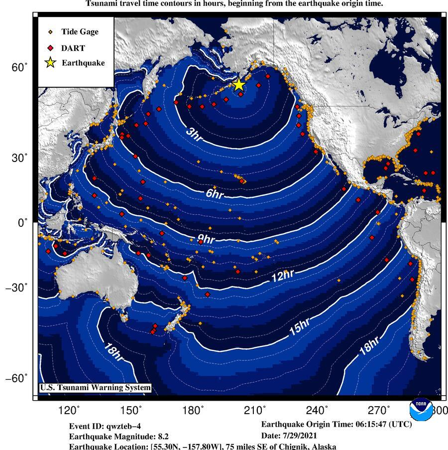 Latest propagation model of the potential tsunami by this morning's Alaska quake - alerts now lifted