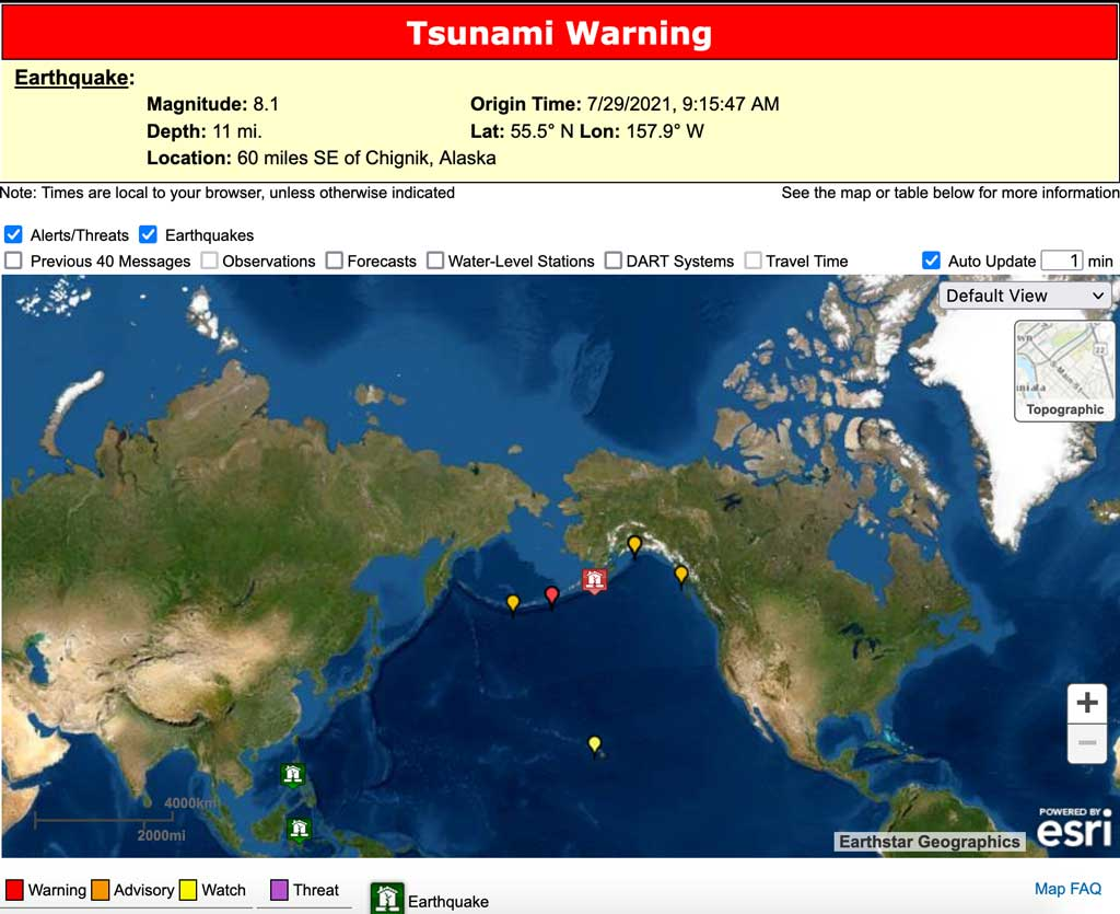 Current tsunami warnings/advisories issued
