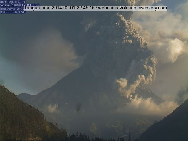 Strong explosion at Tungurahua and a pyroclastic flow this morning