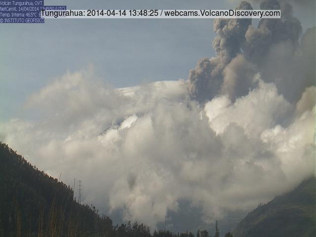 Explosie in vulkaan Tungurahua vanmiddag