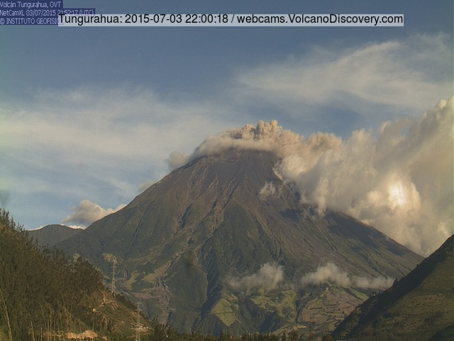 Ash emissions from Tungurahua on 3 July