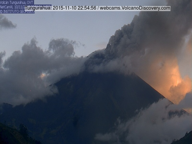 Ash emission from Tungurahua yesterday evening
