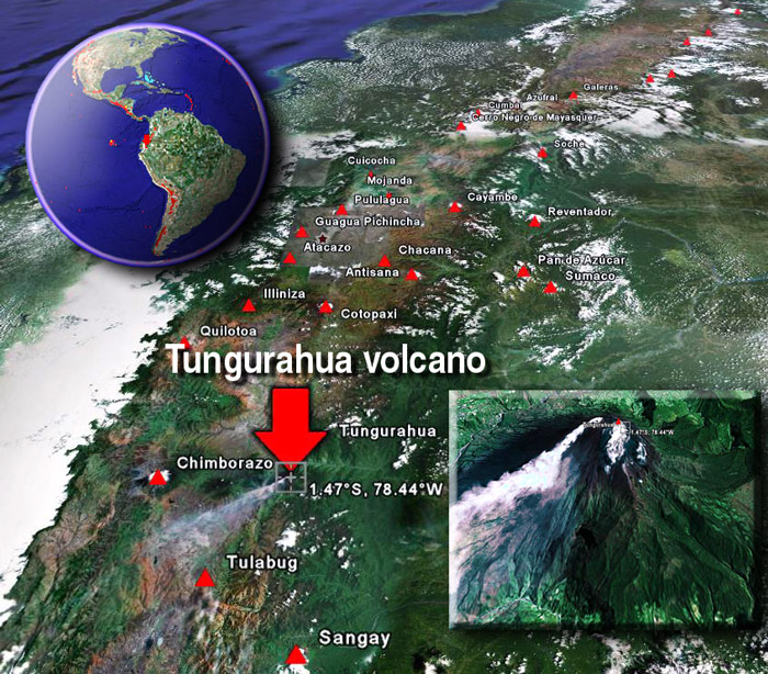 Satellite image of Tungurahua volcano by (c) Google Earth View