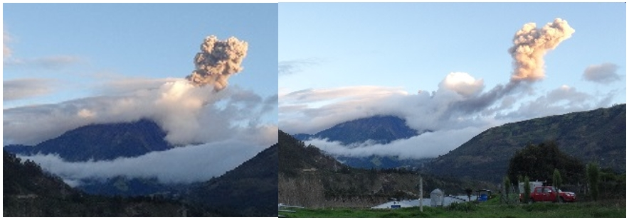 Explosion at Tungurahua on 27 April 2015 (IGEPN)