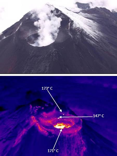 Upper western flank of Tungurahua and thermal image from the NE side, with the hot spots corresponding to still hot ejected blocks (photo: P. Ramón OVT/IG)