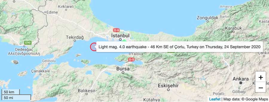 Location of this afternoon's quake in Tukey