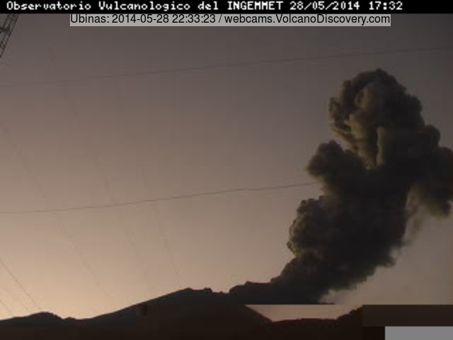 Ash explosion at Ubinas volcano this morning
