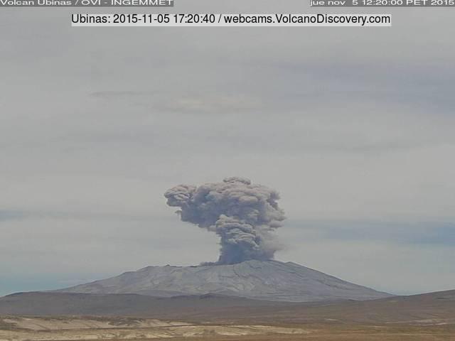 Explosion at Ubinas volcano last evening