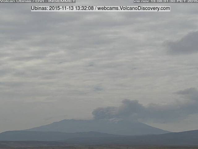 Ash plume from Ubinas volcano this afternoon