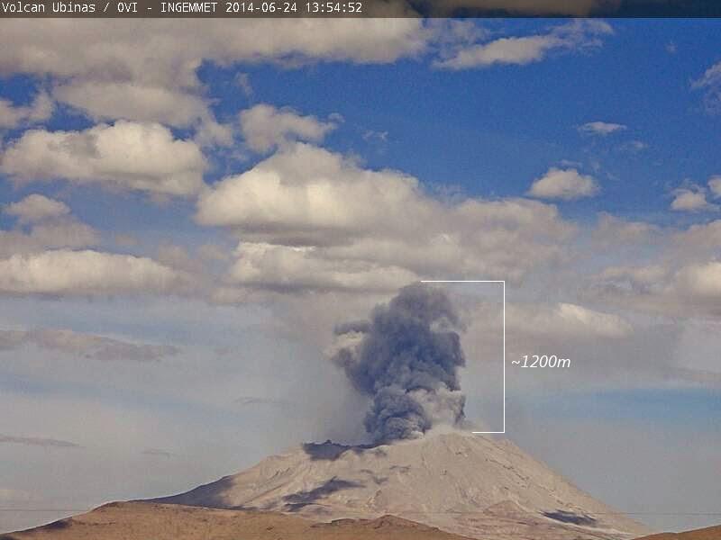 Explosion at Ubinas volcano yesterday