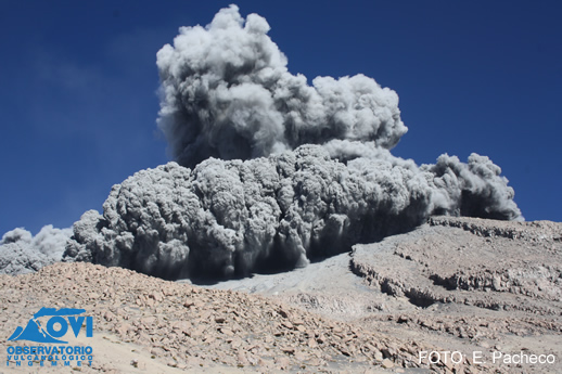 Ash explosion from Ubinas yesterday (INGEMMET)