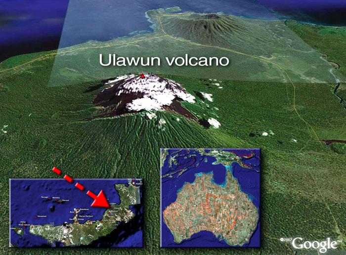 Satellite image of Ulawun volcano (c)Google