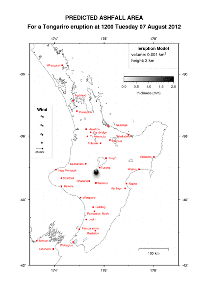 A new ash fall forecast map was published by GeoNet, in case of renewed activity from Tongariro. (GeoNet)