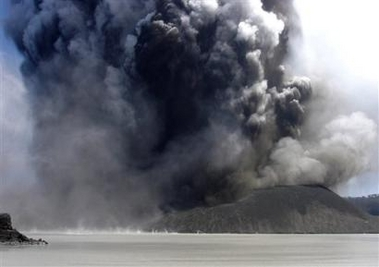 Steam and ash erupting from a vent in Lake Vui on Mount Manaro volcano, on the Vanuatu island of Ambae Monday, Dec 12, 2005. (AP Photo/Morris Harrison)