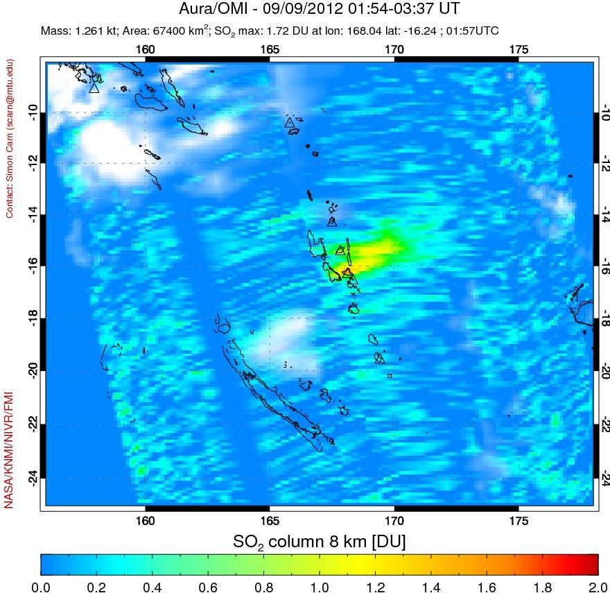 SO2 plume from Ambrym on 9 Sep (NOAA)