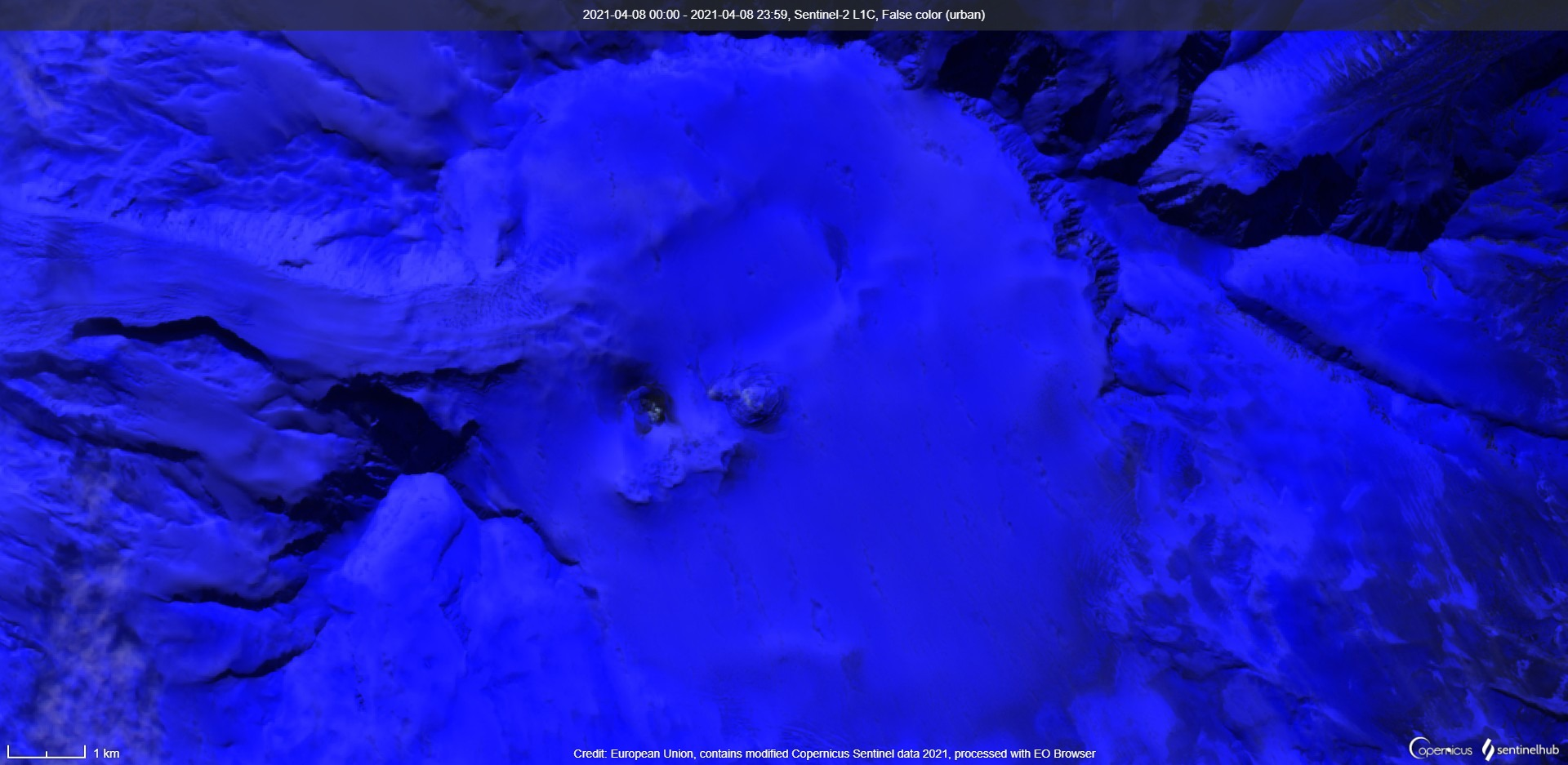 Veniaminof volcano without signs of the ash emissions on 8 April (image: Sentinel 2)
