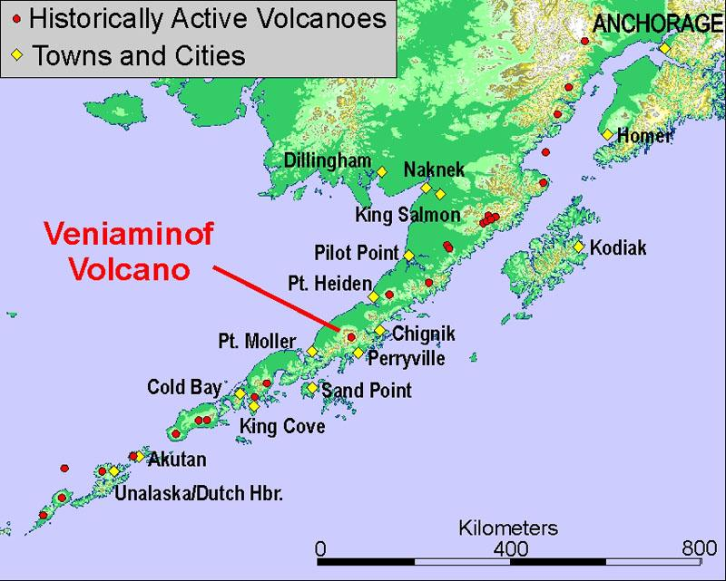 Location of Vaniaminof volcano. (Image courtesy Chris Nye, Alaska Volcano Observatory / Alaska Division of Geological & Geophysical Surveys)