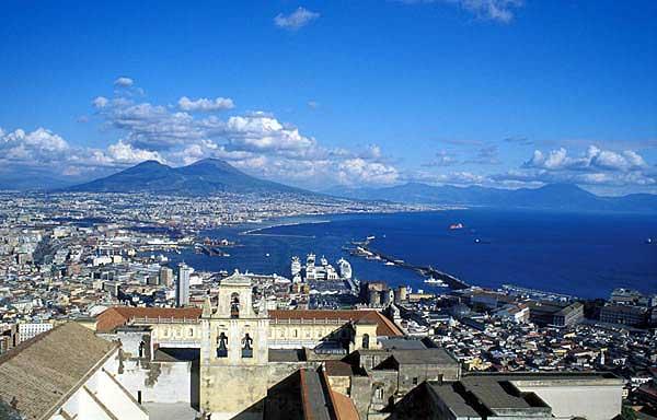 Vesuvius volcano seen from the city of Naples