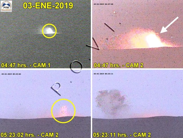 Strrombolian explosions / small lava fountains observed yesterday at Villarrica volcano (images: POVI)