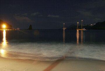 Night-time light on the beach of Porto Ponente (Vulcano)
