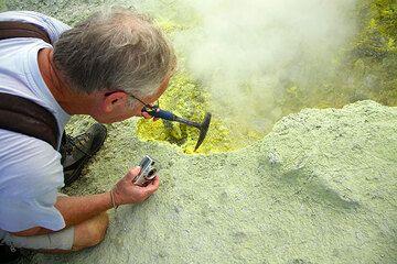 Franz examining sulphur deposits