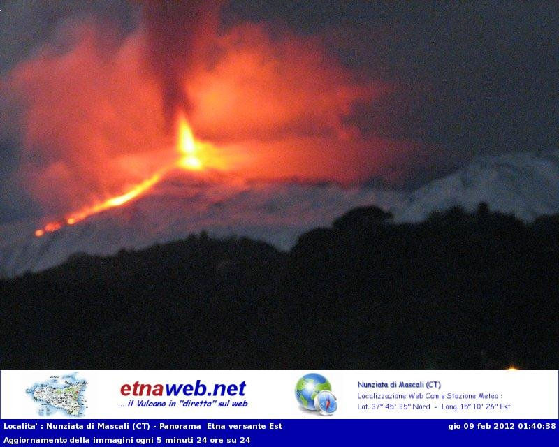 The lava fountains from the etnaweb webcam (view from the east)