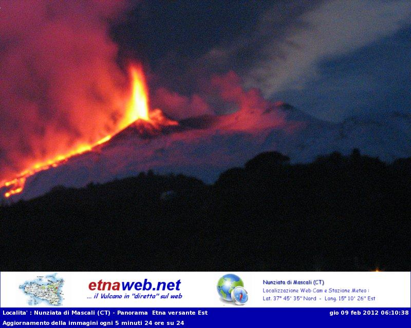 Lava fountains and the flow into Valle del Bove seen from the east