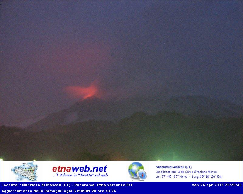 Webcam image of Etna with glow from the NSEC crater (EtnaWeb webcam)